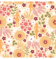 Girls among flowers seamless pattern background vector image