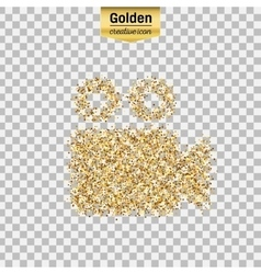 Gold glitter icon of video camera isolated vector image