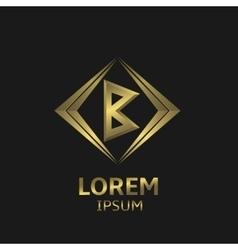 Golden B letter vector image