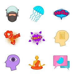 graphic icons set cartoon style vector image