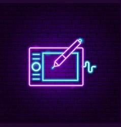 Graphic tablet neon label vector