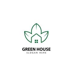Green house logo outline monoline vector