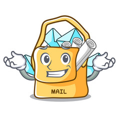 Grinning the bag with shape mail cartoon vector