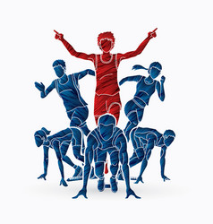 group of marathon runner people running vector image