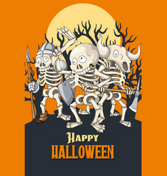 happy halloween postcard template party of vector image