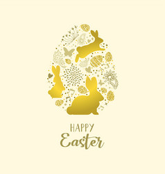Happy spring easter greeting card in gold glitter vector