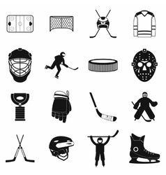 Hockey black simple icons set vector