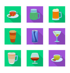 isolated object of drink and bar icon set of vector image
