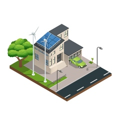 Isometric Green Eco House vector image