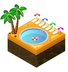 Isometric swimming pool on the beach vector image