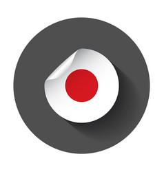 Japan sticker with flag with long shadow vector
