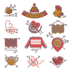 Knitted clothing or knitwear winter clothes scarf vector