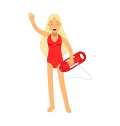 lifeguard girl character in a red swimsuit with vector image