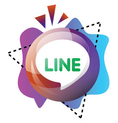 line app logo sign inside a bubble with colorful vector image