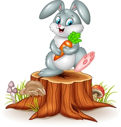 Little bunny holding carrot on tree stump vector