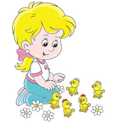 Little girl and chicks vector