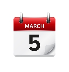 March 5 flat daily calendar icon Date and vector