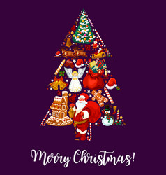 Merry christmas tree wish greeting card vector
