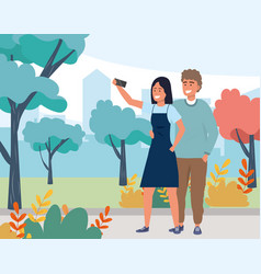Millennial couple smiling selfie nature background vector