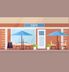 modern summer cafe shop exterior empty no people vector image