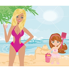 Mother and daughter on the beach vector