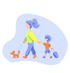 Mother with child and dog on walk flat vector