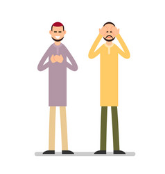 muslim praying two muslim arabic men in different vector image