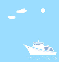Ocean liner on pastel blue background vector