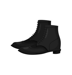 pair of black leather male boots side view vector image