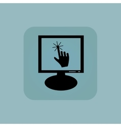 Pale blue hand cursor monitor vector