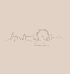 Pen line silhouette london beige vector