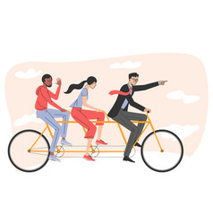 people riding on tandem bicycle vector image
