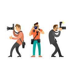 photographers or paparazzi with digital cameras vector image