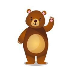 Pleasant cartoon brown grizzly teddy bear greeting vector