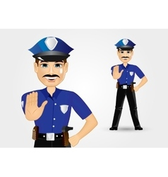 Policeman with mustache showing stop gesture vector