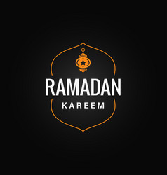 ramadan kareem logo on dark background vector image