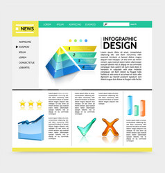 realistic infographic design website template vector image