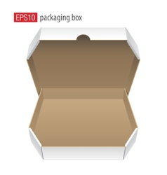 Realistic White Opened Package Cardboard Box for vector image