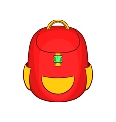 Red backpack icon in cartoon style vector image
