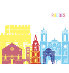 Rhodes skyline pop vector
