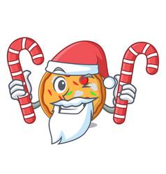 santa with candy pizza mascot cartoon style vector image