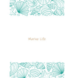 Sea shell doodle frame for summer vector