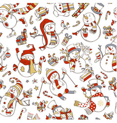 Seamless pattern of cute snowmen vector