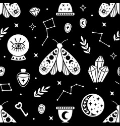 Seamless pattern with black halloween elements vector