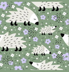 Seamless pattern with cute hedgehogs creative vector