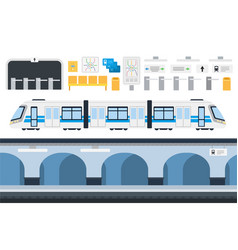 set city metro icons flat vector image