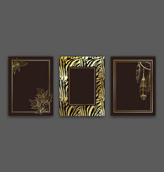 set natural and animal print style background vector image