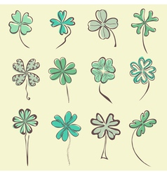 set of 12 decorative clovers vector image