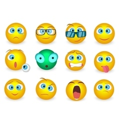Set of Emoji face emotion icons isolated vector