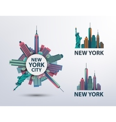set of NYC New York City icons logos vector image